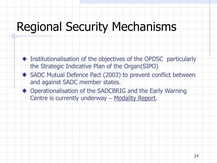 Regional Security Mechanisms