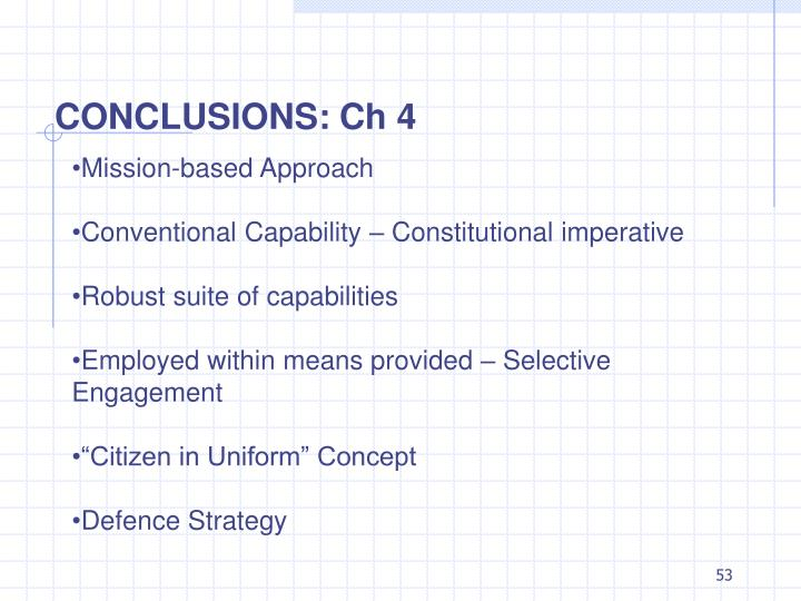 CONCLUSIONS: Ch 4