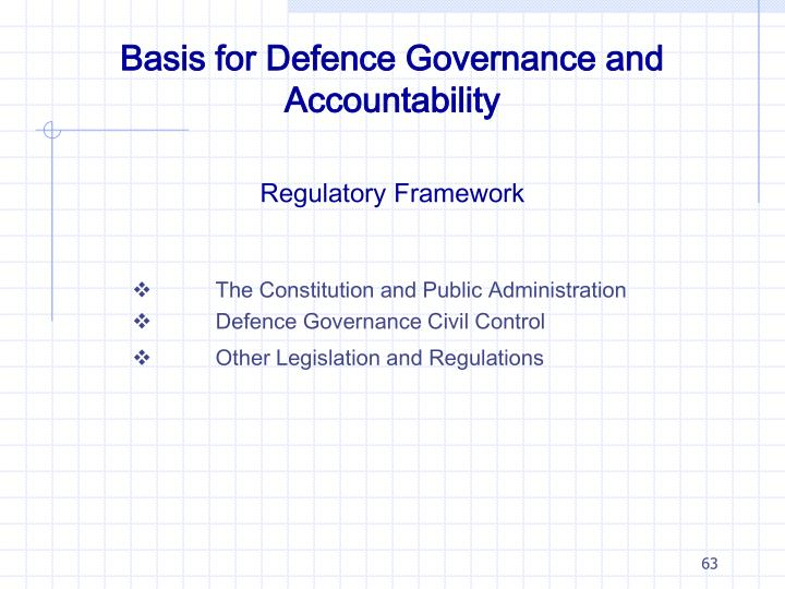 Basis for Defence Governance and Accountability