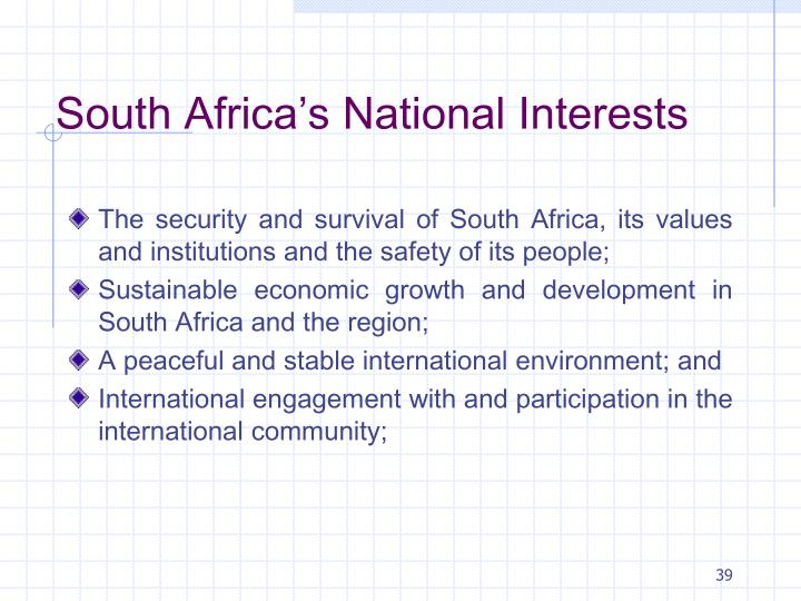 South Africa's National Interests