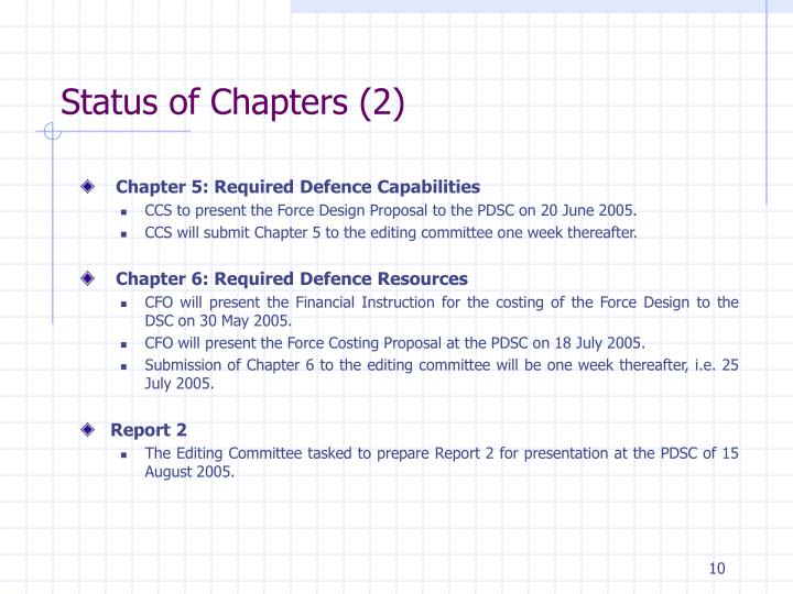 Status of Chapters (