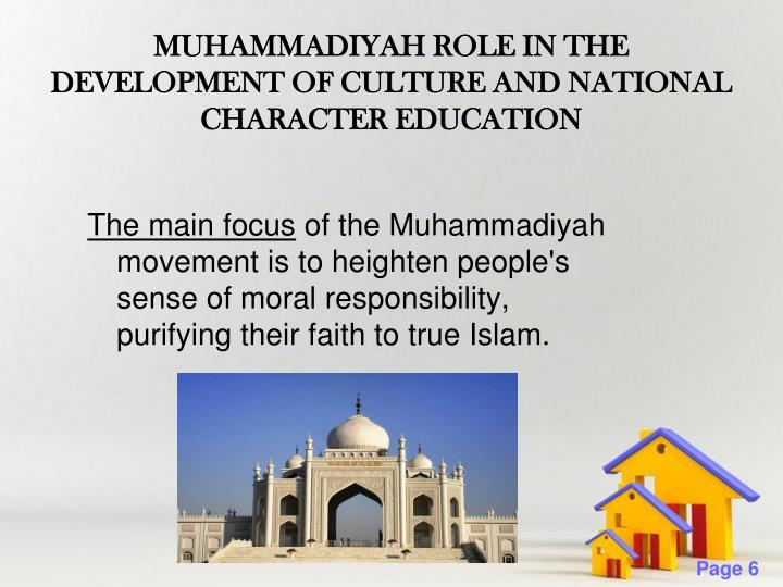 MUHAMMADIYAH ROLE IN THE DEVELOPMENT OF CULTURE AND NATIONAL CHARACTER EDUCATION
