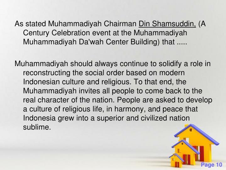 As stated Muhammadiyah Chairman