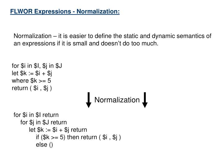 FLWOR Expressions - Normalization: