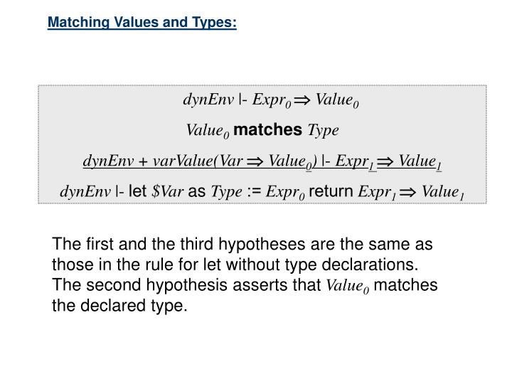 Matching Values and Types: