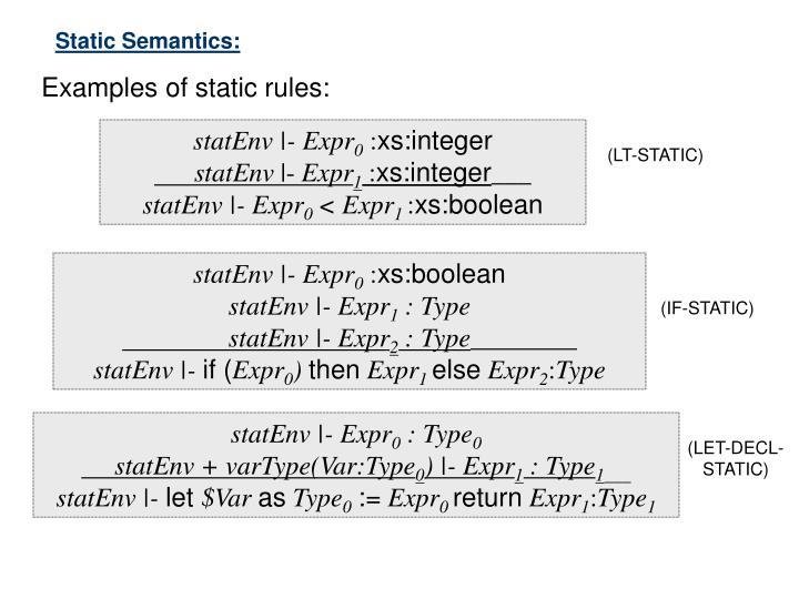 Static Semantics: