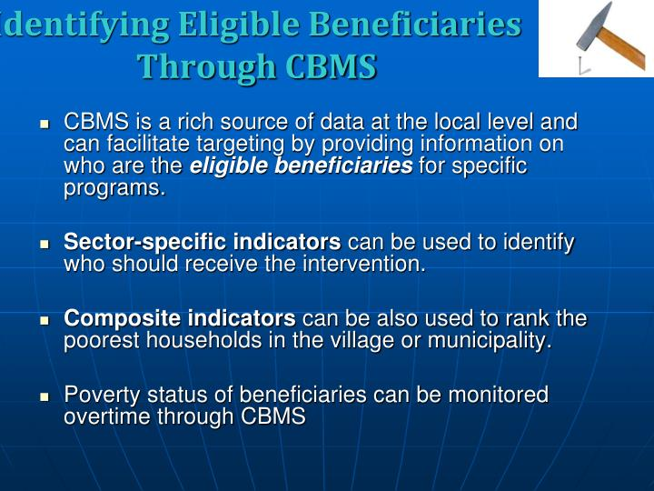 Identifying Eligible Beneficiaries