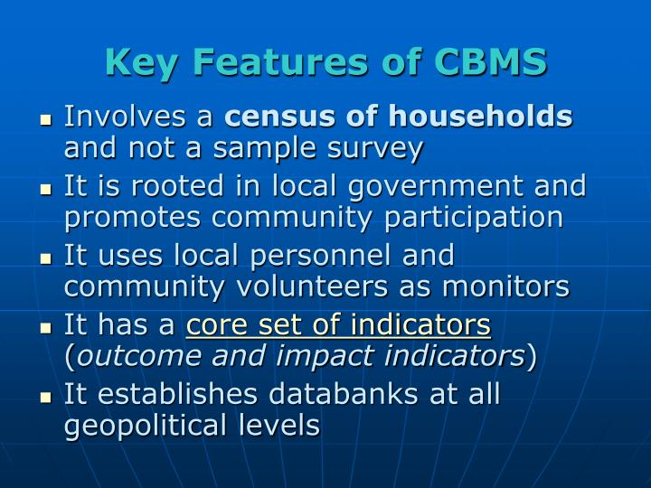 Key Features of CBMS