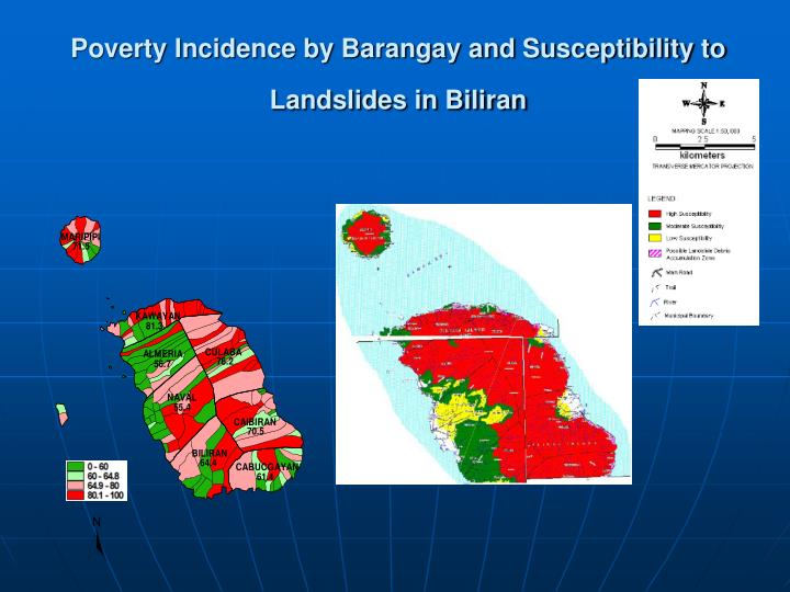 Poverty Incidence by Barangay and Susceptibility to Landslides in Biliran