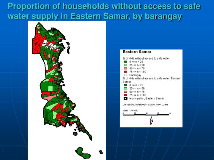 Proportion of households without access to safe water supply in Eastern Samar, by barangay