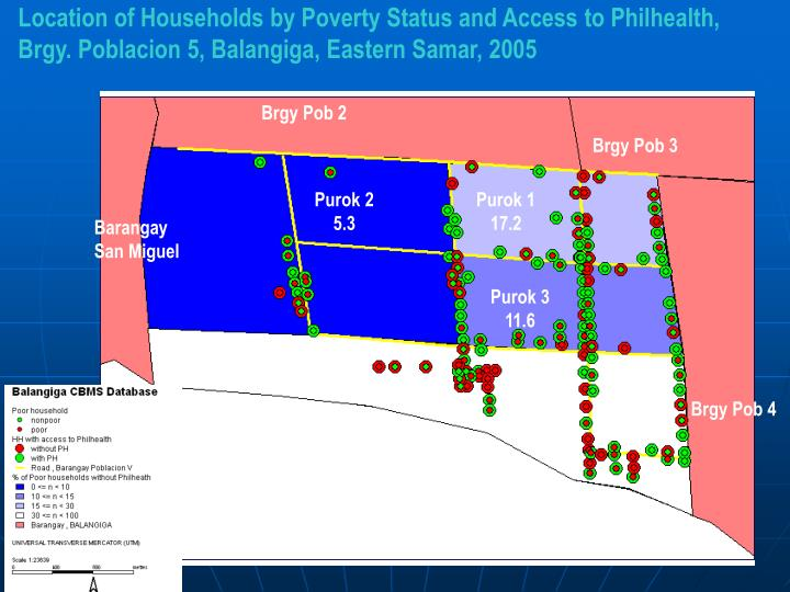Location of Households by Poverty Status and Access to Philhealth, Brgy. Poblacion 5, Balangiga, Eastern Samar, 2005