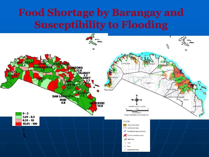 Food Shortage by Barangay and Susceptibility to Flooding