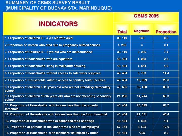 Summary of CBMS Survey Result