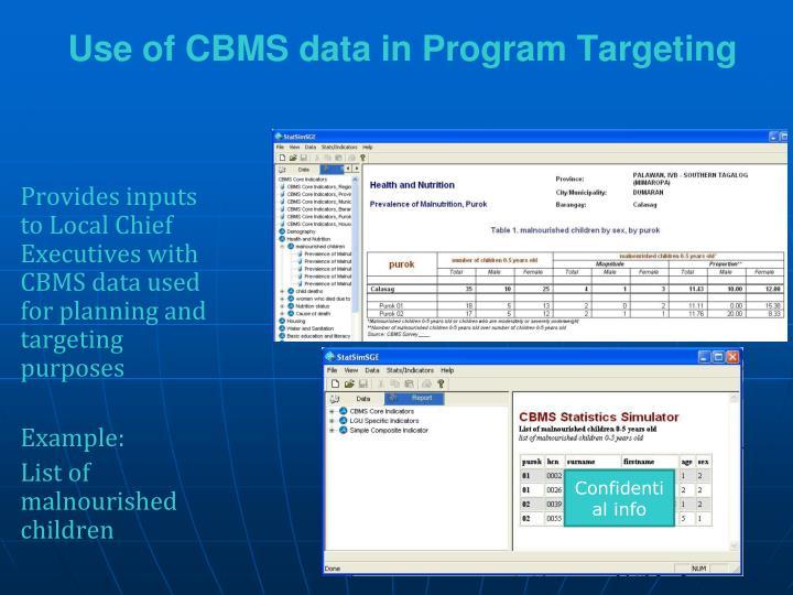 Use of CBMS data in Program Targeting