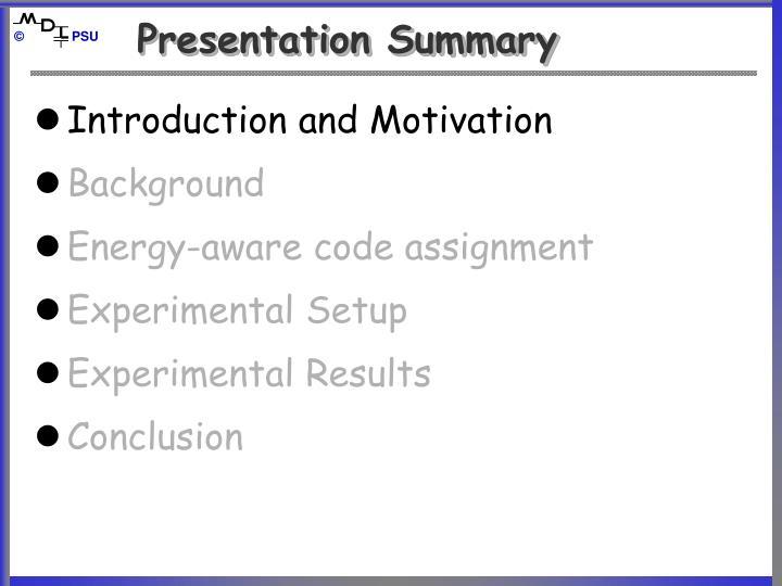 Presentation Summary
