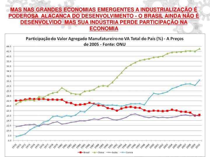MAS NAS GRANDES ECONOMIAS EMERGENTES A INDUSTRIALIZAÇÃO É PODEROSA  ALACANCA DO DESENVOLVIMENTO - O BRASIL AINDA NÃO É DESENVOLVIDO  MAS SUA INDÚSTRIA PERDE PARTICIPAÇÃO NA ECONOMIA