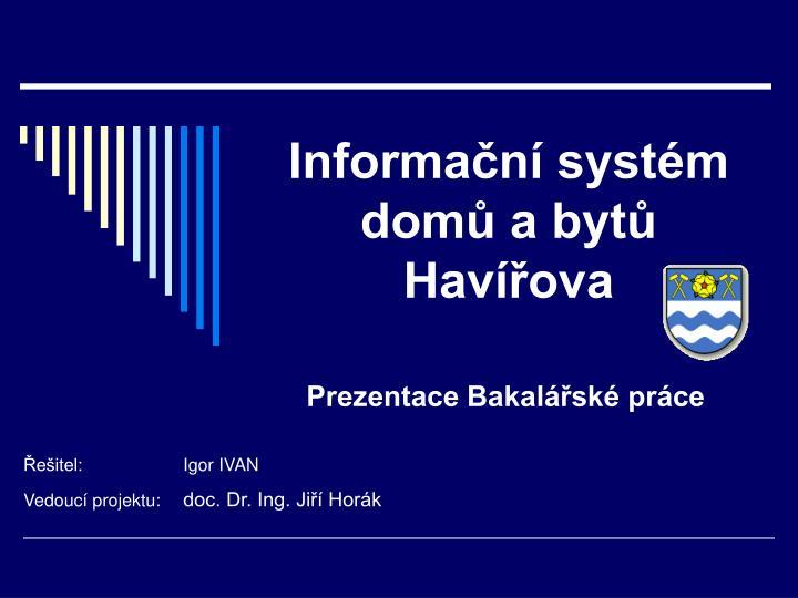 Informační systém domů a bytů Havířova
