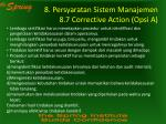 8 persyaratan sistem manajemen 8 7 corrective action opsi a