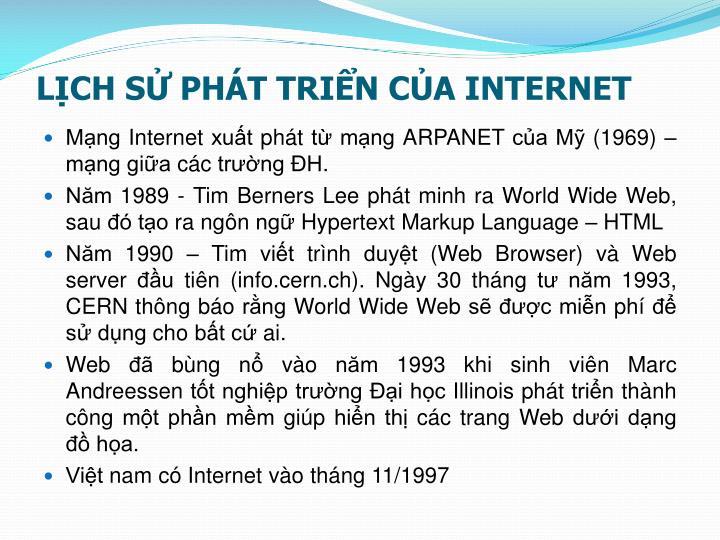 LỊCH SỬ PHÁT TRIỂN CỦA INTERNET