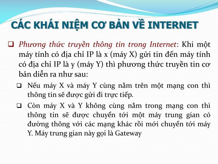 CÁC KHÁI NIỆM CƠ BẢN VỀ INTERNET