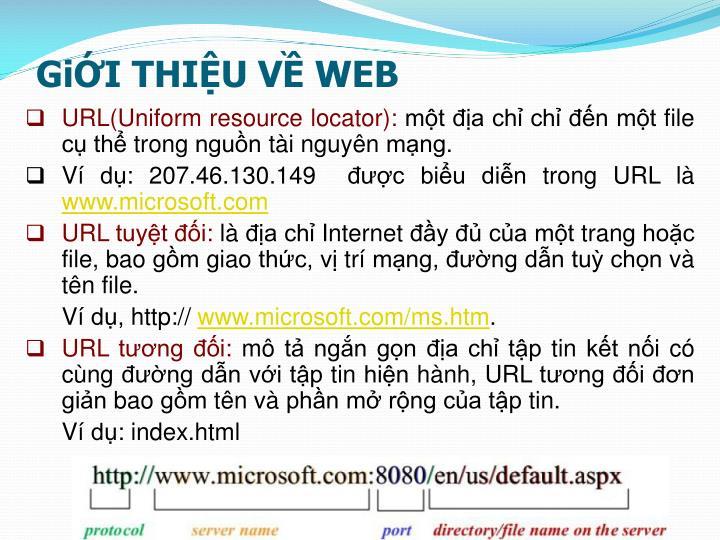 GiỚI THIỆU VỀ WEB