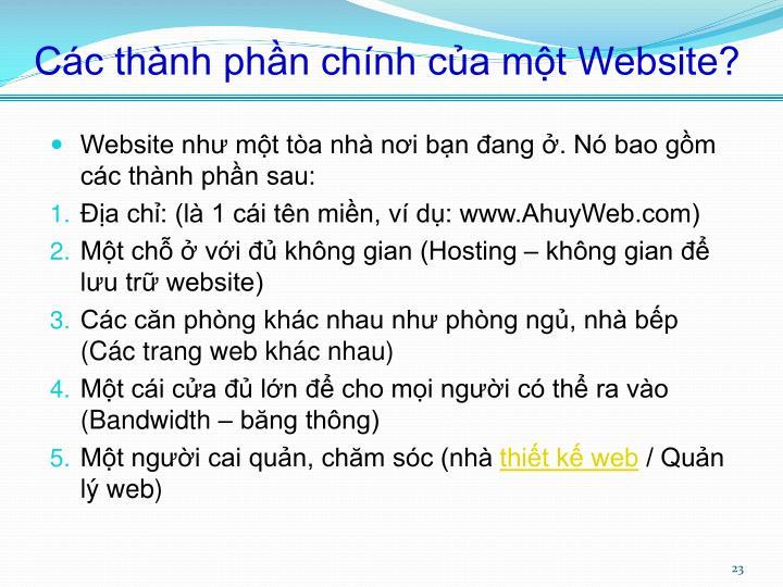 Các thành phần chính của một Website?