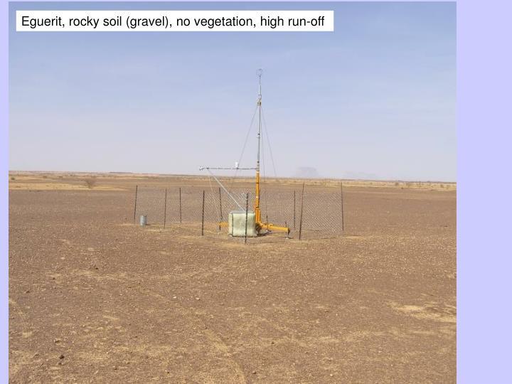Eguerit, rocky soil (gravel), no vegetation, high run-off