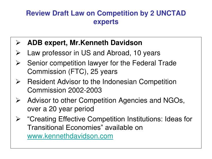 Review Draft Law on Competition by 2 UNCTAD experts