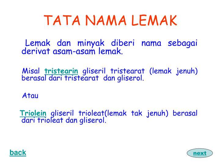 TATA NAMA LEMAK