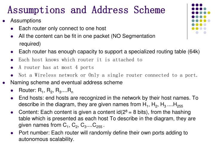 Assumptions and Address Scheme