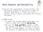data transfer and reliability