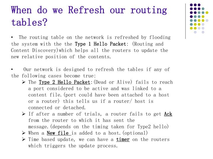 When do we Refresh our routing tables?