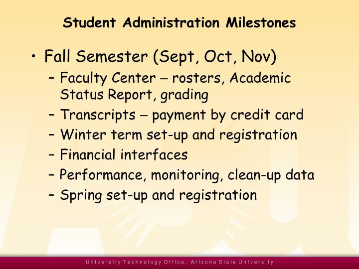 Student Administration Milestones