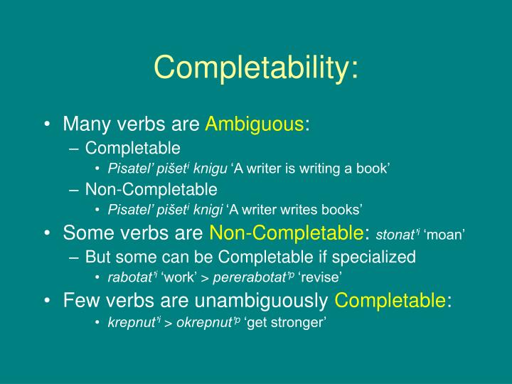 Completability: