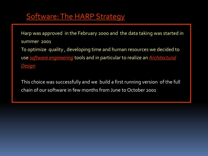 Software: The HARP Strategy