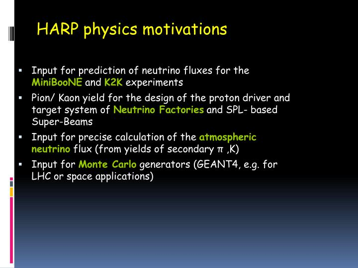 HARP physics motivations