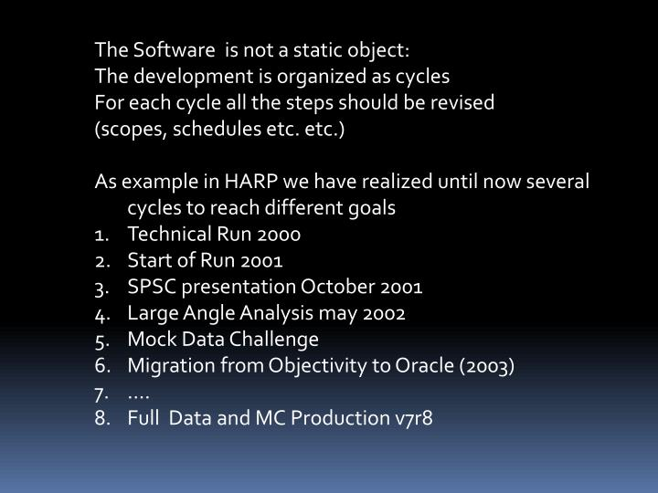 The Software  is not a static object: