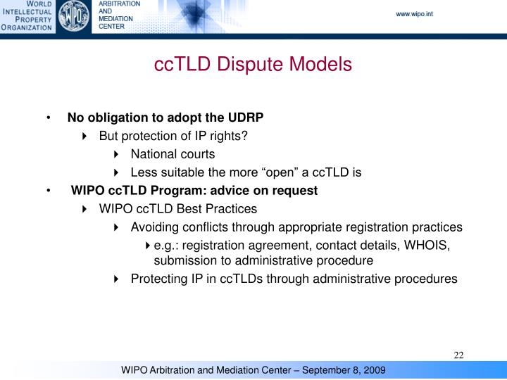 ccTLD Dispute Models