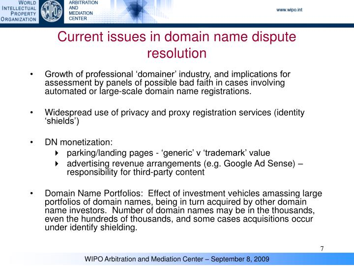 Current issues in domain name dispute resolution