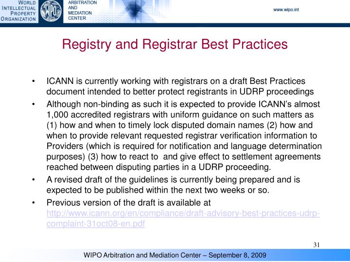Registry and Registrar Best Practices