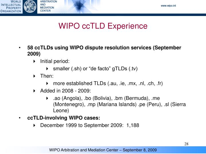 WIPO ccTLD Experience