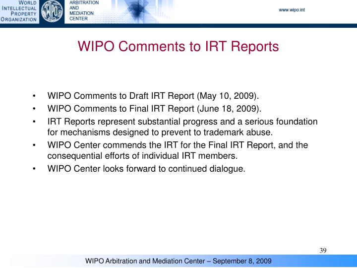 WIPO Comments to IRT Reports