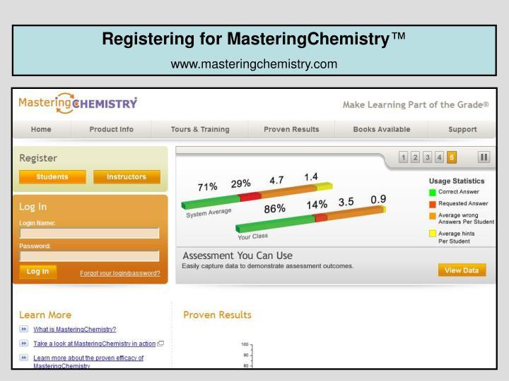 Registering for MasteringChemistry