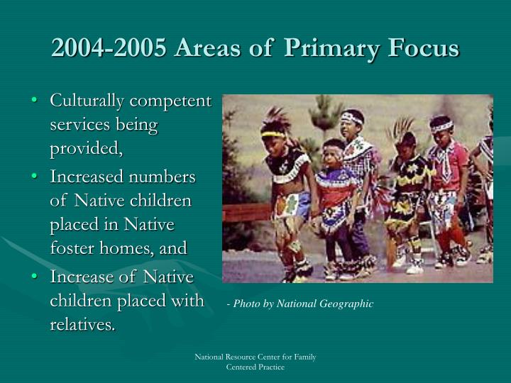 2004-2005 Areas of Primary Focus