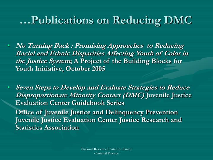 …Publications on Reducing DMC