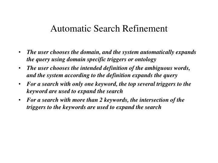 Automatic Search Refinement