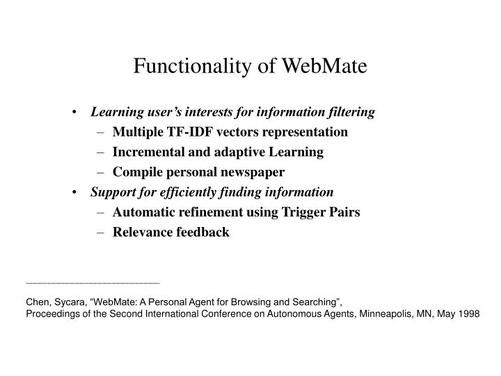Functionality of WebMate