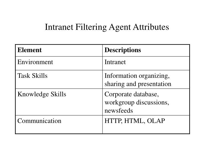 Intranet Filtering Agent Attributes