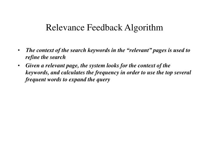 Relevance Feedback Algorithm