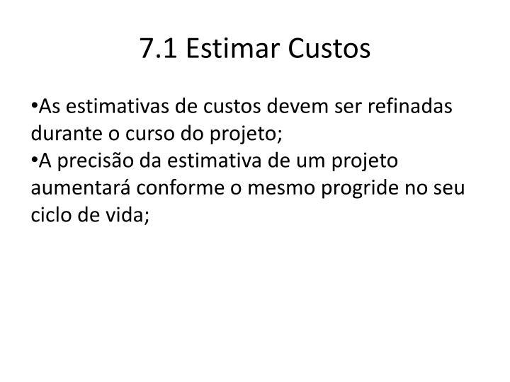 7.1 Estimar Custos